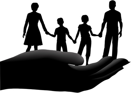 Family of mother father children held in a cupped hand symbol of security safety