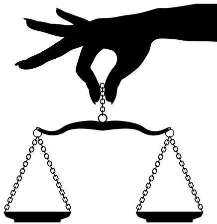 balanza: Silueta mujer mano a escala sopesar objetos en equilibrio