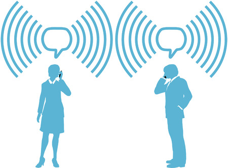 smart phone woman: Smart phone business people phone talk in wireless speech bubble copy space Illustration
