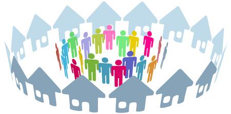 La rete sociale della gente di casa di quartiere si incontra all'interno di una cerchia di case Vettoriali