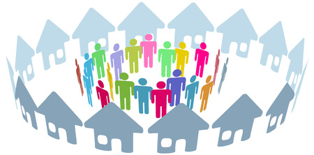 Neighborhood home people social network meet inside a circle of houses Illustration