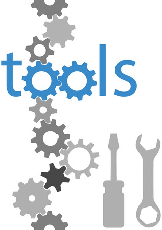 gears concept: Set of technology tool icons symbols and border gears wrench screwdriver