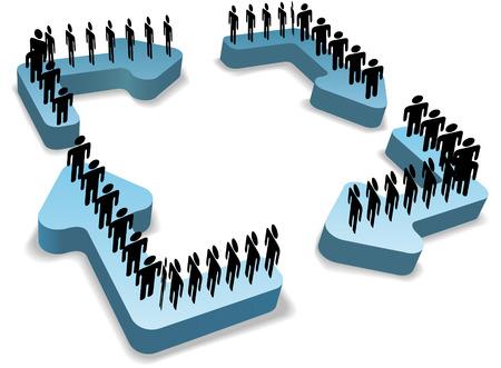 workflow: Organisation de personnes travaille dans les cercles sur les processus gestion cycle de recyclage fl�ches vers le Centre spatial de copie Illustration