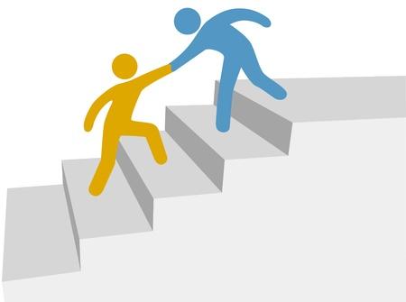 personas ayudando: Progreso y colaboraci�n como amigo ayuda a amigo escalada escalera de mejora Vectores