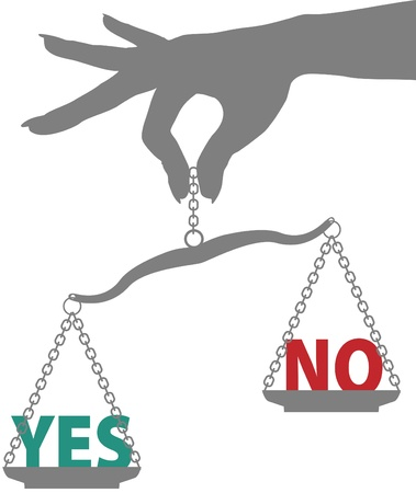 answer: Hand of woman holds scale to weigh answer to YES or NO question in balance Illustration