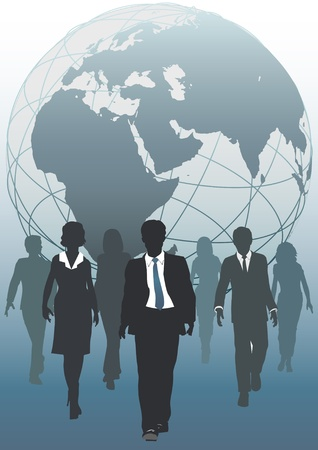 personnel: Global business team emerging from globe as symbol of human resources workforce