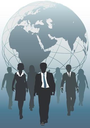 Global business team van globe in opkomst als symbool van menselijke hulpbronnen beroepsbevolking