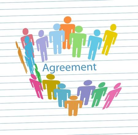 회사 사람들이 라인 종이 배경에 비즈니스 계약을 체결