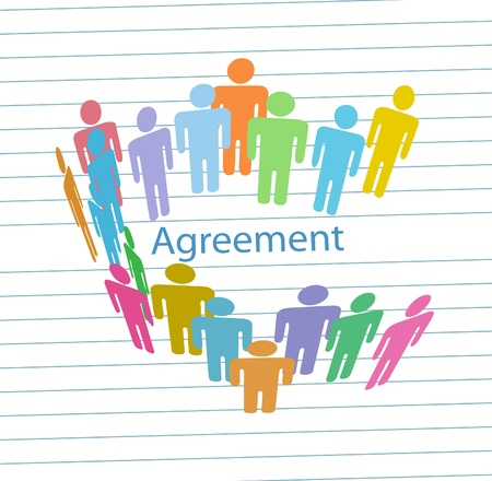 consensus: Company people sign business agreement contract on line paper background