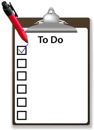 chores: Ruimte achtergrond voor uw tekstlijst op takenlijst met selectievakje pen en het Klembord kopiëren Stock Illustratie