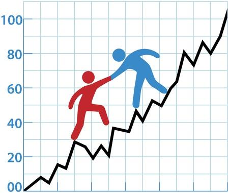 Persona de negocios ayudando a símbolo rojo sobre terreno áspero de pérdida a crecer a beneficio