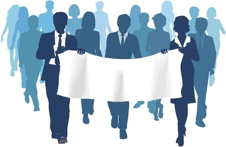 ビジネス人々 のグループを歩く前方キャリング バナー広告コピー領域の背景