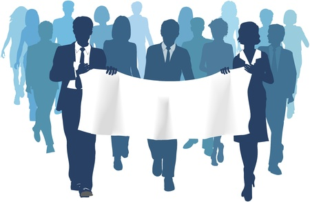 man and banner: Business people group walks forward carrying banner ad copy space background Illustration