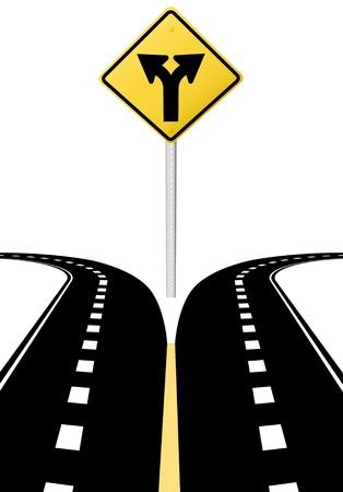 Rechts links pijlen op snelweg weg teken symbool van gesplitste paden besluit