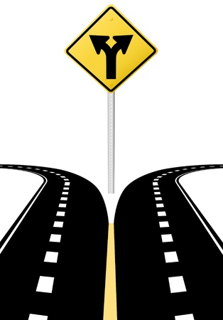 Right left arrows on highway road sign symbol of split paths decision Ilustração
