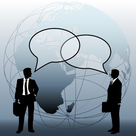 International or global world corporation business people talk in speech bubbles