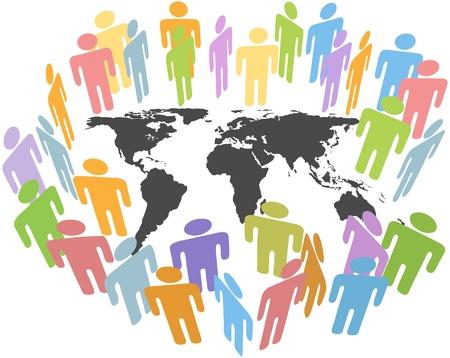 사람들의 그룹이 지구의 문제를 논의하기 위해 지구지도 주위에 모입니다. 일러스트