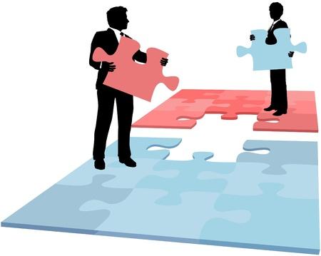 puzzle pieces: Business-Leute halten fehlenden Puzzleteile L�sung f�r Zusammenarbeit Fusion Partnerschaft Problem erforderlich