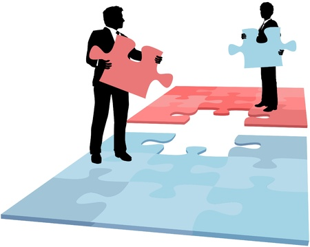 merger: Business people hold missing puzzle pieces needed for solution to collaboration merger partnership problem