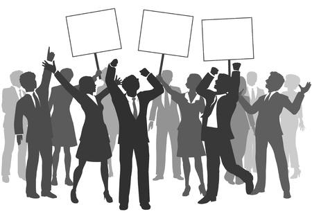 비즈니스 남성과 여성의 성공을 축하하는 세 가지 징후를 들고 여성 팀
