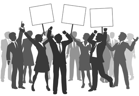 Team of business men and women holding three signs to celebrate company success Vector