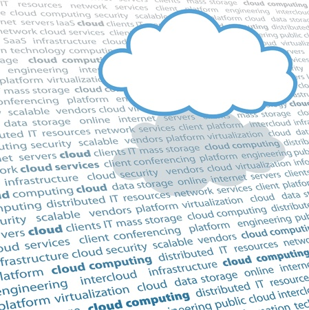 Cloud shape copy space above cloud computing IT terminology text page