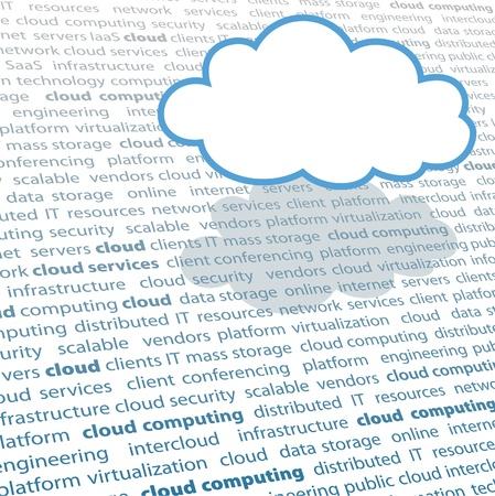 Cloud shape copy space above cloud computing IT terminology text page