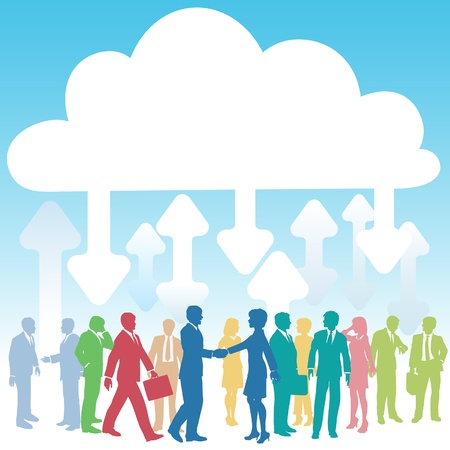 Company people doing business in IT cloud computing environment Vector