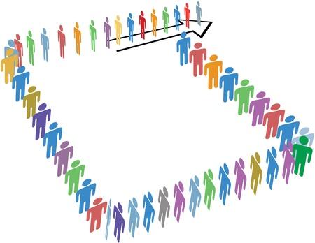 fila de espera: Muchas personas diversas alinean en una larga l�nea alrededor de un bloque de espacio de copia de una flecha
