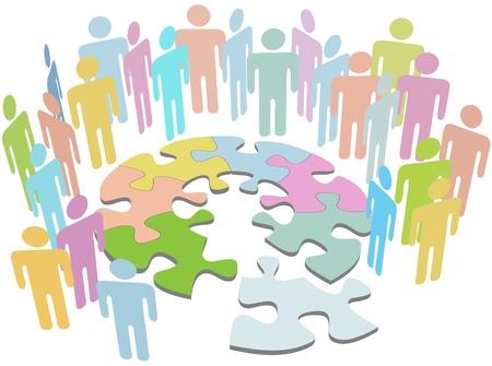 사람들의 그룹이 퍼즐 문제 심볼을 해결하는 해결책을 찾기 위해 협력합니다.
