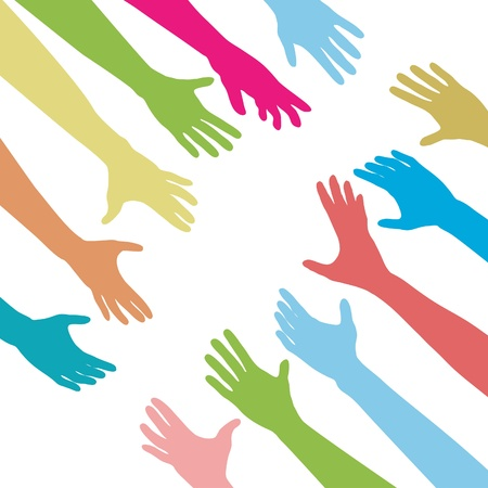 hand up: Diverse people hands reach out across a division gap to unite connect help Illustration