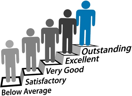 evaluation: Verbesserung der Menschen Schritt Treppe hinauf in Richtung hervorragende Leistung Bewertung Illustration