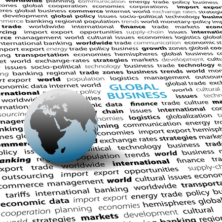economic issues: Globe on page of global business economic international issues text words background Illustration