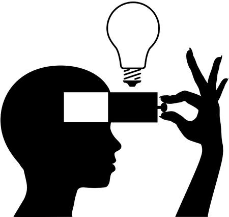 cassettiera: Persona di apprendimento o inventare una nuova idea in mente aperta Vettoriali