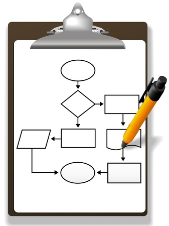 Pen drawing a process management or program flowchart on a clipboard Иллюстрация