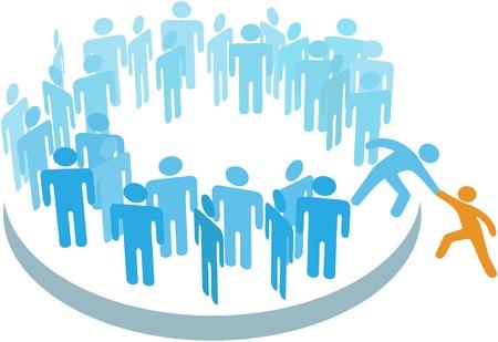 Lid helpt een persoon aan een grote groep of bedrijf aanmelden
