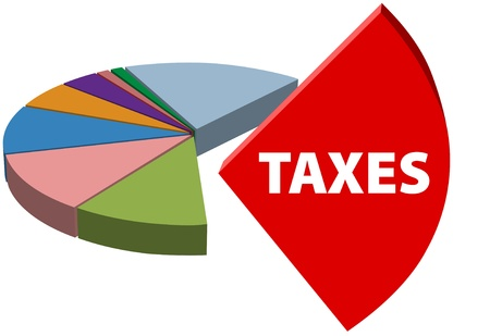 High business taxes are the large piece of a business tax pie chart 版權商用圖片 - 9379381