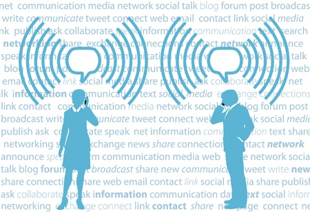 telecom: Business smartphone people communicate in WiFi speech bubbles on social media background