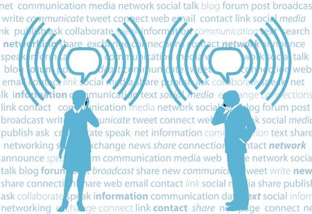 Mensen uit het bedrijfsleven smartphone communiceren in tekstballonnen WiFi op sociale media achtergrond Stockfoto - 9379394
