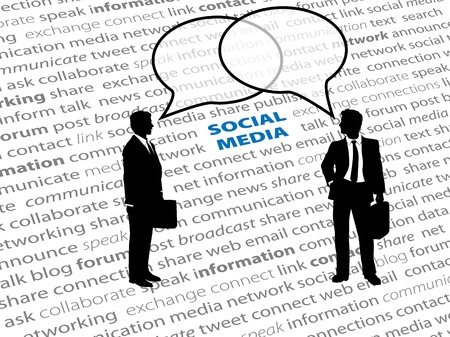 corporate social: Two business people connect in social media network talk bubbles on a text page background