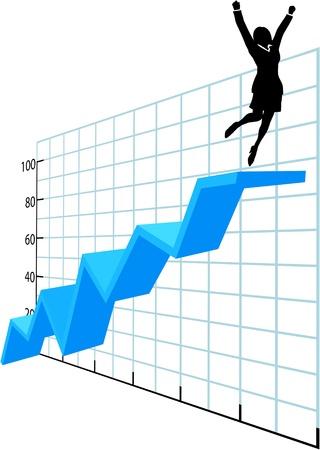 Business vrouw investeerder of uitvoerende springt om succes op de top van een grafiek groei winst grafiek te vieren