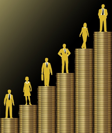 Investment people stand on chart of  economic growth as graph of stacks of gold coins photo