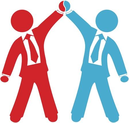 협력 업체 합병 계약 또는 합병 성공의 비즈니스 사람들 축하