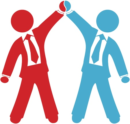 Celebración de gente de negocios de colaboración tratar acuerdo fusión o éxito de asociación Foto de archivo - 9454582