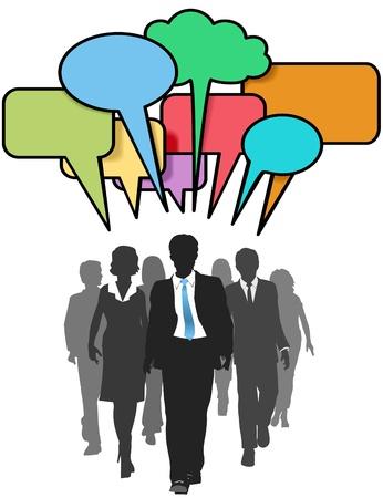 follow the leader: Sociale media mensen uit het bedrijfsleven lopen en praten in kleur tekstballonnen Stock Illustratie