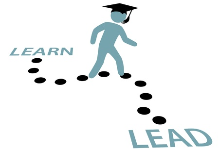 College high school or technical school graduate of education on a career path LEARN to LEAD Vector
