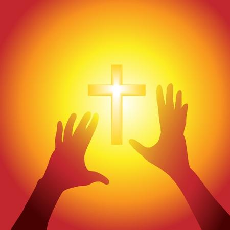 Twee handen op persoon silhouet reiken aan een kruis in fel licht