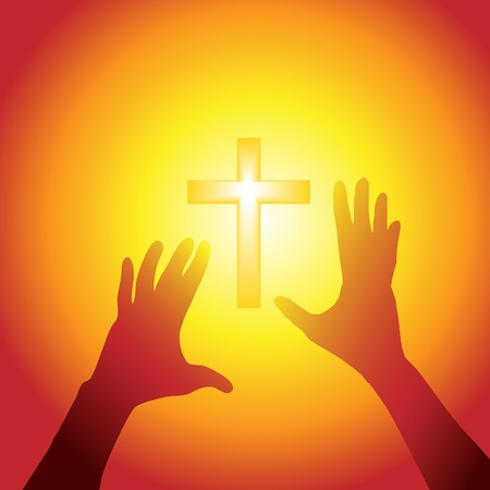 Two hands of person silhouette reach out to a cross in bright light