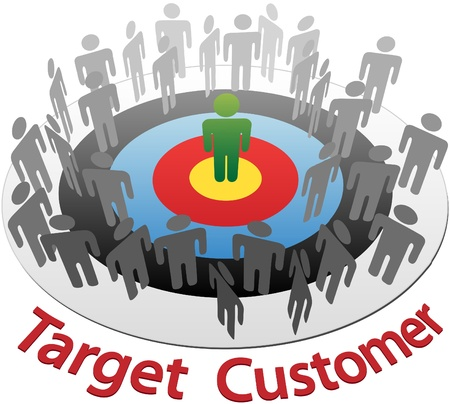 Targeted Marketing to find and choose the best customer in a group of people Ilustração