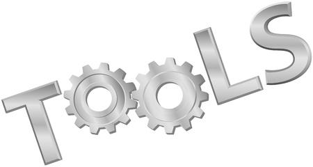 herramientas de mec�nica: Un s�mbolo icono de palabra de herramientas de la tecnolog�a de engranajes de metal brillante Vectores